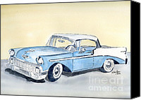 American Car Drawings Canvas Prints - Chevy Bel Air - 56 Canvas Print by Eva Ason