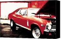  Poster Art Digital Art Canvas Prints - Chevy Nova Canvas Print by Jayne Logan