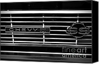 Monochrome Hot Rod Canvas Prints - Chevy SS Grille Canvas Print by Chalet Roome-Rigdon