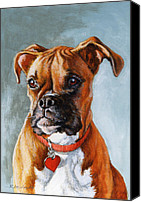 Boxer Dog Canvas Prints - Cheyenne Canvas Print by Richard De Wolfe