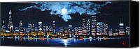 Skylines Painting Canvas Prints - Chicago 2 Canvas Print by Thomas Kolendra