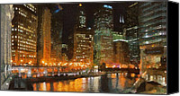 Chicago Skyline Digital Art Canvas Prints - Chicago at Night Canvas Print by Jeff Kolker