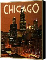 Chicago Skyline Digital Art Canvas Prints - Chicago At Night Canvas Print by Vintage Poster Designs