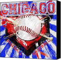 Baseball Canvas Prints - Chicago Baseball Abstract Canvas Print by David G Paul