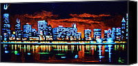Skylines Painting Canvas Prints - Chicago by Black Light Canvas Print by Thomas Kolendra