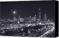 Building Canvas Prints - Chicago By Night Canvas Print by Steve Gadomski