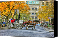 Magnificent Mile Digital Art Canvas Prints - Chicago Carriage Ride  Canvas Print by Vladimir Rayzman