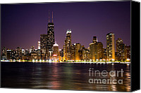 Chicago Canvas Prints - Chicago City at Night Photo Canvas Print by Paul Velgos