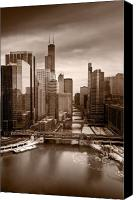 Sears Tower Canvas Prints - Chicago City View Afternoon B and W Canvas Print by Steve Gadomski