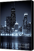 Dark Canvas Prints - Chicago Cityscape at Night Canvas Print by Paul Velgos