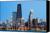 Chicago Canvas Prints - Chicago Downtown at Night with John Hancock Building Canvas Print by Paul Velgos