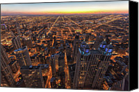 Chicago Canvas Prints - Chicago Downtown At Sunset Canvas Print by Www.sand3r.com