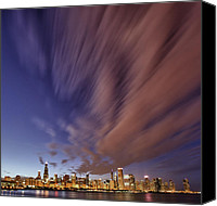 Chicago Skyline Digital Art Canvas Prints - Chicago Evening 3 Canvas Print by Donald Schwartz