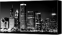 Chicago Canvas Prints - Chicago Famous Cityscape Canvas Print by Luiz Felipe Castro