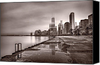 Hancock Canvas Prints - Chicago Foggy Lakefront BW Canvas Print by Steve Gadomski