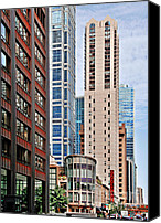 Street Scene Canvas Prints - Chicago - Goodman Theatre Canvas Print by Christine Till