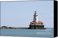 Red White Blue Canvas Prints - Chicago Harbor Light Canvas Print by Christine Till