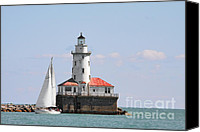 Old Chicago Water Tower Canvas Prints - Chicago Harbor Lighthouse Canvas Print by Christine Till