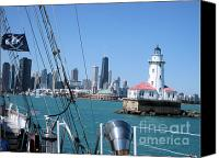 Cities Pyrography Canvas Prints - Chicago Harbor Lighthouse Canvas Print by Sonia Flores Ruiz