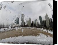 Patricia Schnepf Canvas Prints - Chicago in Winter...According to the Bean Canvas Print by Patricia  Schnepf