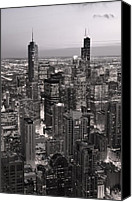 Hancock Canvas Prints - Chicago Loop Sundown B and W Canvas Print by Steve Gadomski