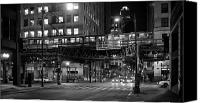 Fineartam Canvas Prints - Chicago Night Train Canvas Print by Michael Avory