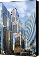 Unique Structure Canvas Prints - Chicago - One South Wacker and Hyatt Center Canvas Print by Christine Till
