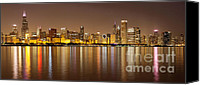Chicago Canvas Prints - Chicago Panorama at Night Canvas Print by Paul Velgos