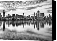 Black And White Canvas Prints - Chicago Reflection Canvas Print by Donald Schwartz