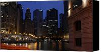 Old Chicago Water Tower Canvas Prints - Chicago River Canvas Print by Aaron Sebby