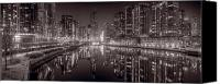 Riverwalk Canvas Prints - Chicago River East BW Canvas Print by Steve Gadomski