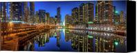 Riverwalk Canvas Prints - Chicago River East Canvas Print by Steve Gadomski