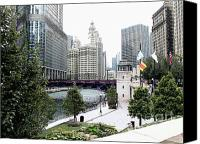 Patricia Schnepf Canvas Prints - Chicago River Walk Canvas Print by Patricia  Schnepf