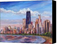 Shore Painting Canvas Prints - Chicago Skyline - John Hancock Tower Canvas Print by Jeff Pittman