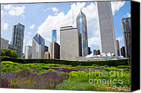 Chicago Canvas Prints - Chicago Skyline and Flowers Canvas Print by Paul Velgos