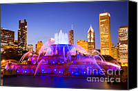 Chicago Canvas Prints - Chicago Skyline at Night with Buckingham Fountain Canvas Print by Paul Velgos