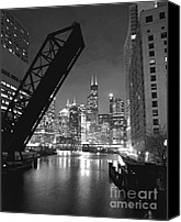 Black And White Canvas Prints - Chicago Skyline - Black and White Sears Tower Canvas Print by Horsch Gallery