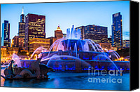 Sears Tower Canvas Prints - Chicago Skyline Buckingham Fountain High Resolution Canvas Print by Paul Velgos
