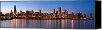 Lake Michigan Canvas Prints - Chicago Skyline Evening Canvas Print by Donald Schwartz