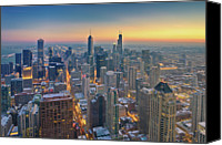 Chicago Canvas Prints - Chicago Skyline In Blue Hour Canvas Print by Delobbo.com