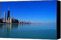 Chicago Skyline Digital Art Canvas Prints - Chicago Skyline Canvas Print by Mingqi Ge