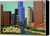 Chicago Skyline Digital Art Canvas Prints - Chicago Skyline Canvas Print by Vintage Poster Designs