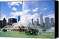 Chicago Canvas Prints - Chicago Skyline with Buckingham Fountain Canvas Print by Paul Velgos