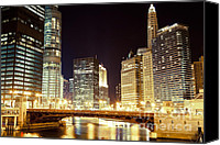 Dark Canvas Prints - Chicago State Street Bridge at Night Canvas Print by Paul Velgos