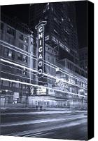Play Canvas Prints - Chicago Theater Marquee B and W Canvas Print by Steve Gadomski