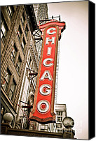 Theater Canvas Prints - Chicago Theater Sign Marquee Canvas Print by Paul Velgos