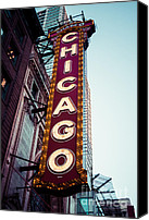 Theater Canvas Prints - Chicago Theatre Marquee Sign Vintage Canvas Print by Paul Velgos