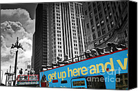 Selective Color Canvas Prints - Chicago Tour Bus Canvas Print by Madeline Ellis