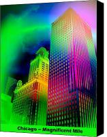 Magnificent Mile Digital Art Canvas Prints - Chicagos Magnificent Mile Canvas Print by Jean Gugliuzza