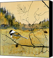 Dyes Tapestries - Textiles Canvas Prints - Chickadee In Dancing Pine Canvas Print by Carolyn Doe